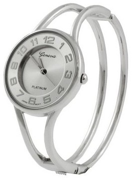 Geneva Platinum Polished Bangle Women's's Watch - Silver