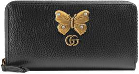 Gucci Leather zip around wallet with butterfly - BLACK LEATHER - STYLE