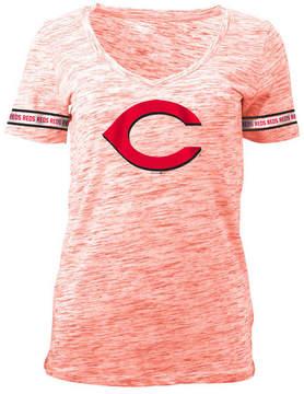 5th & Ocean Women's Cincinnati Reds Space Dye Round Sleeve T-Shirt