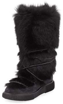 Moncler Katia Tall Fur Platform Boot, Black