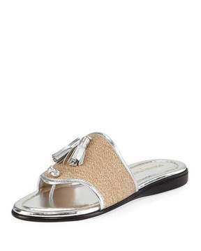 Donald J Pliner Bia Tassel Flat Sandal, Natural/Silver