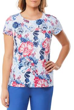 Allison Daley Wide Crew Neck Lace Back Detail Floral Print Tee