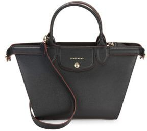 Longchamp Zippered Leather Shoulder Bag - BLACK - STYLE