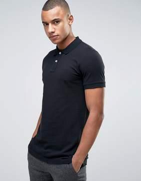 Esprit Slim Fit Basic Pique Polo Shirt in Black