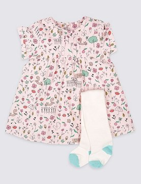Marks and Spencer 2 Piece Printed Cord Baby Dress with Tights