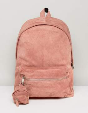 Asos Backpack In Pink Suede With Mini Backpack Keychain