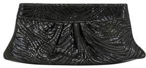 Lauren Merkin Grey Metallic Print Suede Clutch