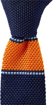 Roundtree & Yorke Stripe Underknot Knit Skinny Silk Tie