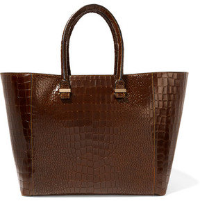 Victoria Beckham - Liberty Croc-effect Leather Tote - Black