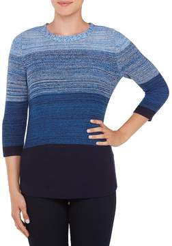 Allison Daley Wide Crew Neck Block-Ombre Pullover
