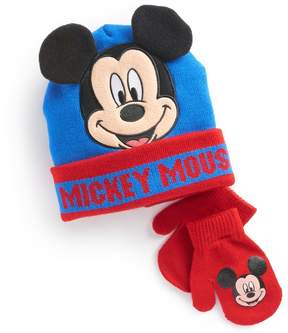 Disney Disney's Mickey Mouse Toddler Boy 3D Ears Hat & Mittens Set