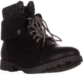 Rock & Candy Spraypaint Foldover Ankle Boots, Black/ Grey Knit.
