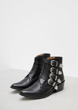 Toga Black Leather Buckle Boot
