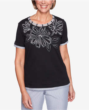 Alfred Dunner Perfect Match Embellished Striped-Trim Top