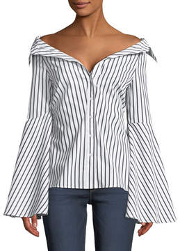 Caroline Constas Persephone Off-the-Shoulder Button-Front Striped Poplin Top