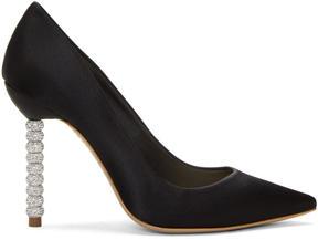 Sophia Webster Black Satin Coco Crystal Heels