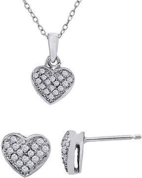 Asstd National Brand 1/4 Ct. T.W. Diamond Heart Necklace & Earrings Set