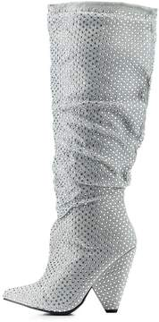 Charlotte Russe Bamboo Ruched Rhinestone Pointed Toe Boot