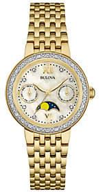 Bulova Goldtone Diamond-Accent Moon Phase Women's Watch