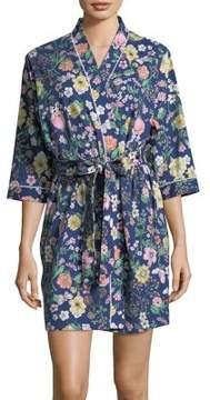 Karen Neuburger Floral Quarter-Sleeve Robe