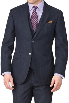 Charles Tyrwhitt Navy Check Slim Fit Saxony Business Suit Wool Jacket Size 36