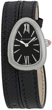 Bvlgari Serpenti Black Dial Ladies Double Wrap Leather Watch