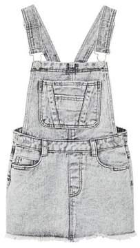 MANGO Grey denim pinafore dress