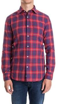 Aspesi Men's Blue/red Cotton Shirt.