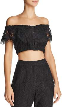 WAYF Casoria Off-the-Shoulder Lace Cropped Top