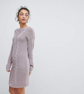 Fashion Union Tall Sweater Dress In Cable Knit