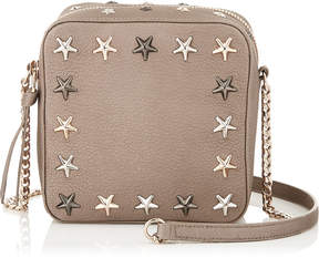 Jimmy Choo SUNNY Light Khaki Pearlized Grainy Leather Camera Bag with Multi Metal Stars