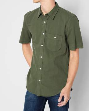 7 For All Mankind Short Sleeve Released Hem Shirt in Overdyed Sage