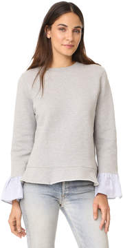 Clu Too Sweatshirt with Striped Ruffled Sleeves