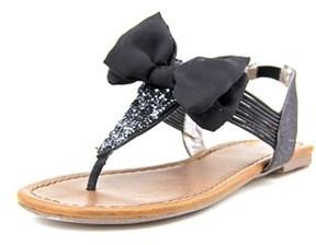 Material Girl Swan Women Open Toe Canvas Black Thong Sandal.