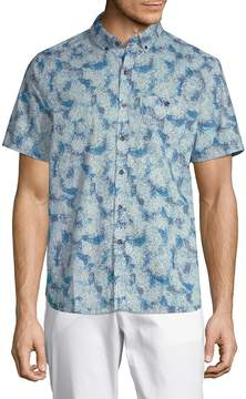 Michael Bastian Men's Printed Short-Sleeve Cotton Button-Down Shirt