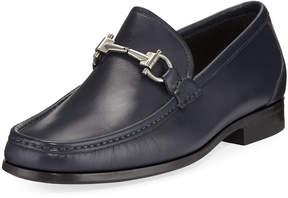 Salvatore Ferragamo Slip-On Calf Leather Dress Shoe, Blue