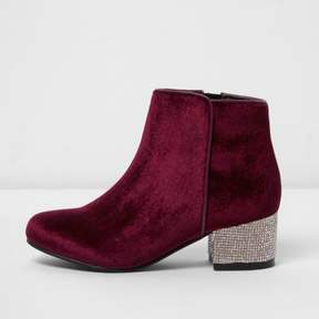 River Island Girls red velvet rhinestone heel ankle boots