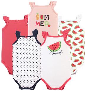 Hudson Baby Watermelon Sleeveless Bodysuit - Set of 5