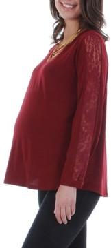 Everly Grey Women's Kira Lace Sleeve Maternity Top