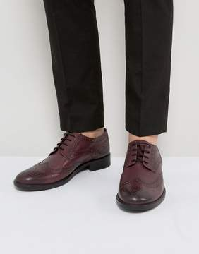 Frank Wright Brogues In Burgundy Leather