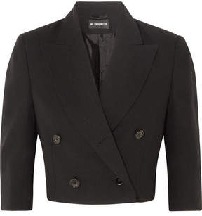 Ann Demeulemeester Cropped Double-breasted Wool Blazer - Black