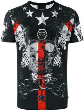 Philipp Plein embellished skull logo print T-shirt