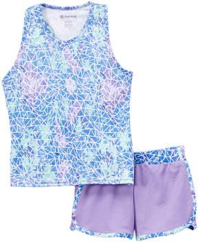 Gaiam Mint & Purple Voltage Racerback Tank & Shorts - Girls