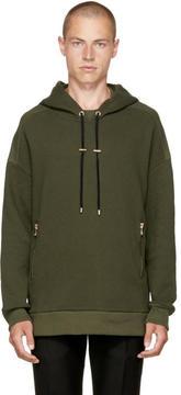 Balmain Green Zip Pockets Hoodie