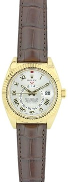Rolex Sky Dweller 326138 18K Yellow Gold & Brown Leather Strap Silver Dial 42mm Mens Watch