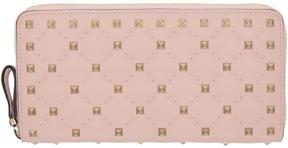 Valentino Pink Garavani Rockstud Spike Continental Zip Wallet