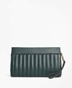Brooks Brothers Leather Quilted Clutch