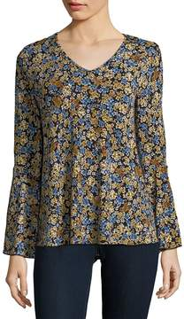 Chelsea & Theodore Women's Floral Bell-Sleeve Top