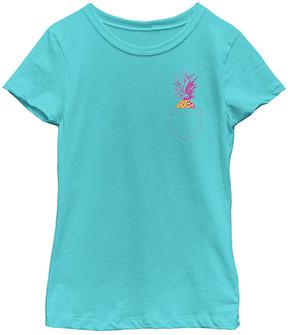 Fifth Sun Tahi Blue Faux-Pocket Pineapple Tee - Girls