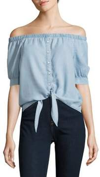 Noisy May Off-the-Shoulder Chambray Top